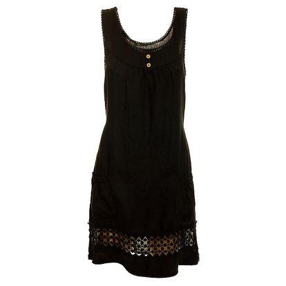 Dámské černé lněné šaty s perforováním Puro Lino