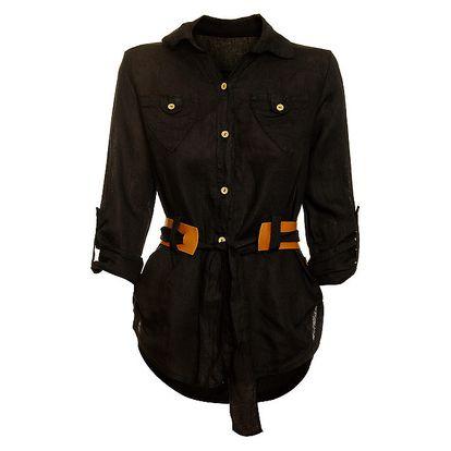 Dámská černá košile s karamelovým páskem Puro Lino