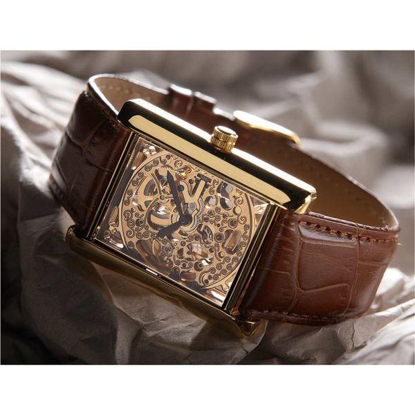Hodinky Yves Camani zlaté hranaté hnědý pásek