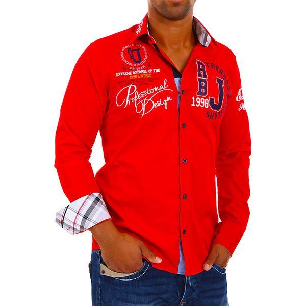 Pánská košile Redbridge červená s potiskem
