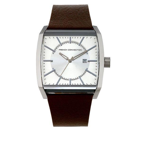 Pánské analogové hodinky s hnědým páskem French Connection
