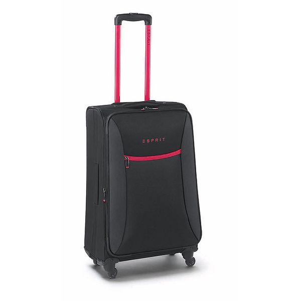 Černo-růžový středně velký kufr na kolečkách Esprit