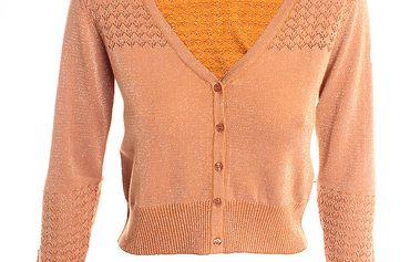 Dámský meruňkový svetr s lurexovým vláknem 2two