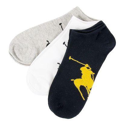 Troje pánské ponožky Ralph Lauren - šedá, černá, bílá