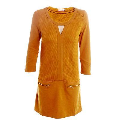Dámské okrové šaty s kapsičkami 2two