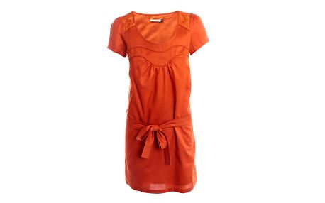 Dámské cihlově oranžové šaty s mašlí 2two