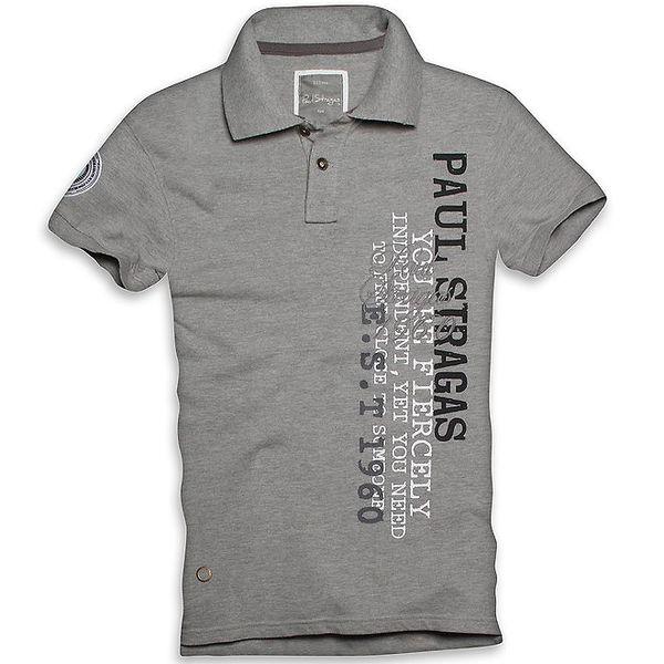 Pánské šedé polo triko s potiskem Paul Stragas
