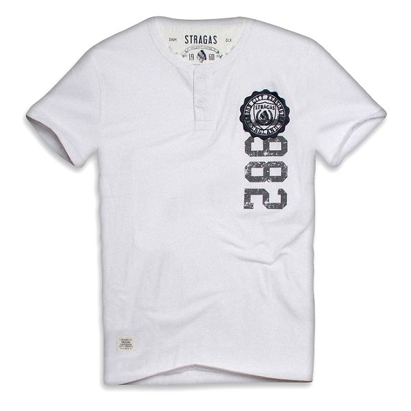 Pánské bílé triko s knoflíčky a potiskem Paul Stragas