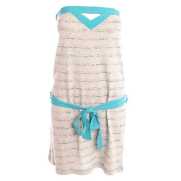Dámské bílé šaty s tyrkysovým páskem 2two