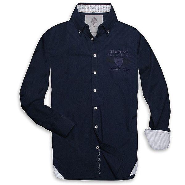 Pánská tmavě modrá košile s proužkovanými vnitřními lemy Paul Stragas