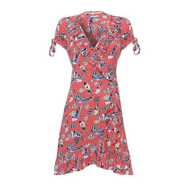 Dámské korálově růžové šaty Uttam Boutique s volány a ptáčky