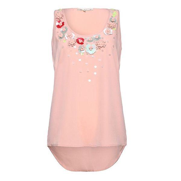Dámský světle růžový top Uttam Boutique s kytičkami