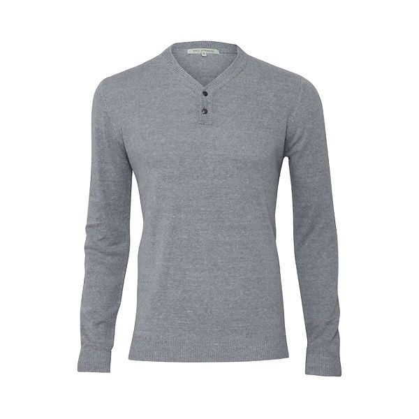 Pánský šedý svetr s tmavými záplatami Paul Stragas