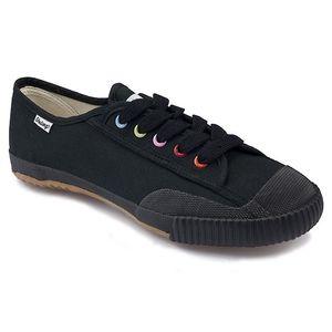 Dámské černé nízké tenisky s barevnými dírkami Shulong