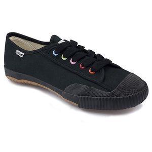 Černé kotníčkové tenisky s barevnými dírkami Shulong