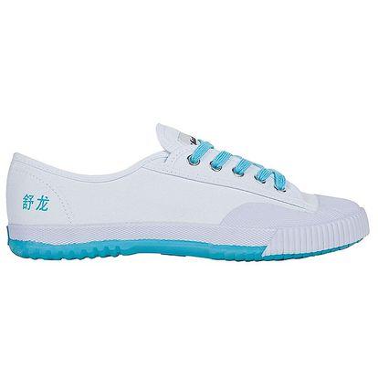 Dámské nízké bílo-tyrkysové tenisky se znaky Shulong