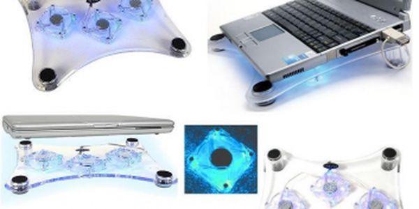 Luxusní modře podsvícený podstavec pod notebook se slevou 72%! Ochraňte svůj notebook proti přehřátí!
