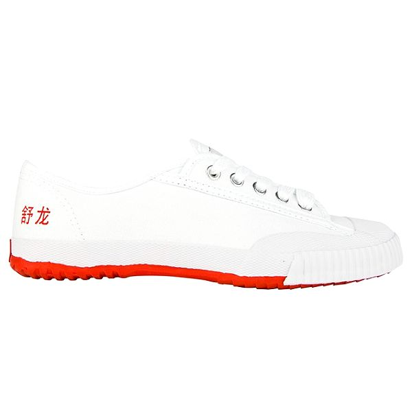 Nízké bílo-červené tenisky se znaky Shulong