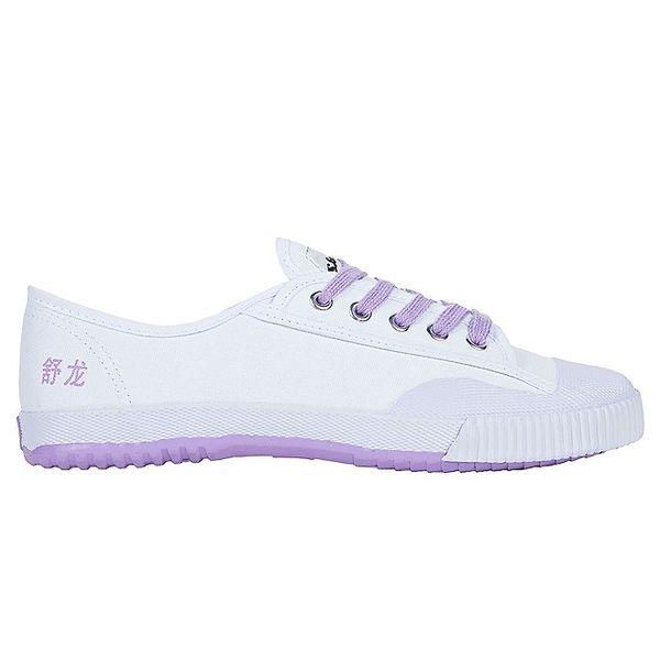 Dámské nízké bílo-fialové tenisky se znaky Shulong