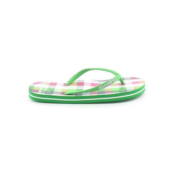 Dámské zeleno-bílé kostkované žabky Brunotti