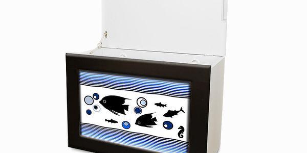 Multifunkční koš Rybičky, černý rám