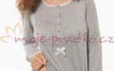 Dámské pyžamo dlouhé Síélei NC15. Tričko s dlouhými rukávy je zdobeno módním řasením a mašličkou