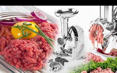 Multifunkční elektrický mlýnek na maso O-Beko za 999 Kč. Kromě 3 děrovaných nástavců na mletí masa, má i nástavec na plnění do střívek a nástavec na stříkané pečivo. Vysoce kvalitní zpracování. Jednoduchá obsluha abezpečná příprava chutných domácích jídel