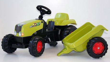 Rolly Toys Šlapací traktor Rolly Kid s vlečkou sv. zelený - II. jakost