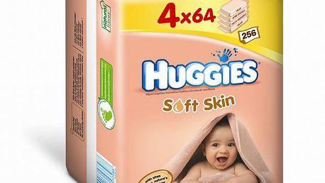 Huggies vlhčené ubrousky Soft Skin Quatro Pack 64x4 ks s obsahem bambuckého másla