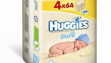 Huggies vlhčené ubrousky Pure Quatro Pack 64x4 ks