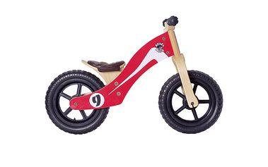 Dřevěné odrážedlo červené. Lehká a snadno ovladatelná kola, nastavitelná sedačka a řídítka