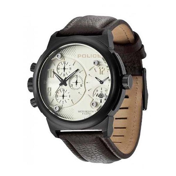 Pánské hodinky Police kulaté hnědý pásek