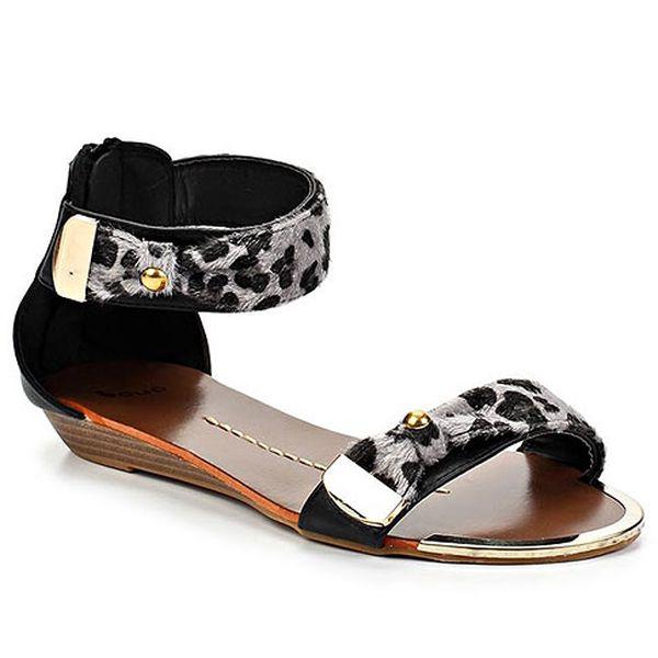 Černé leopardí sandálky Sarah