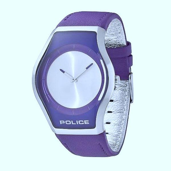 Dámské hodinky Police fialovostříbrné kožený pásek