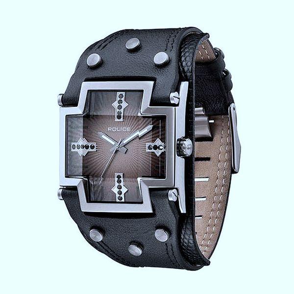 Pánské hodinky Police hnědé ciferník do kříže