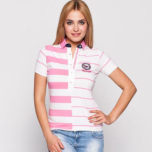 Růžovo-bílé proužkované polo tričko