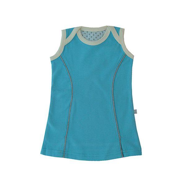 Modré šatičky bez rukávů - BIO bavlna