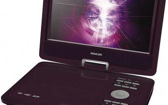 Přenosný DVD přehrávač skomfortním otáčecím displejem SENCOR SPV 2918 Dark Red