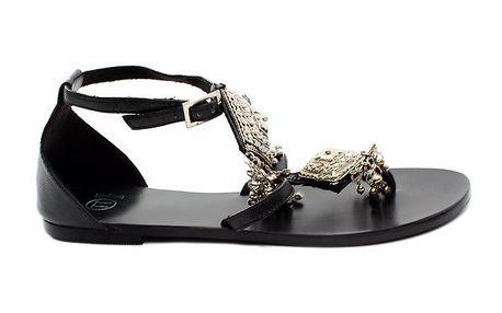 Dámské černo-stříbrné kožené sandálky s penízky Bagatt