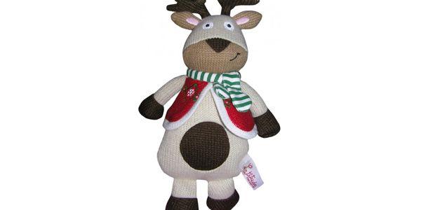 Tradiční pletená zvířátka Sob Rodolphe - 25 cm