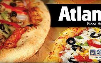 Nejlepší pizza v Olomouci! Akce 1+1 pizza zdarma! 2x výborná pizza (32 cm) dle vlastního výběru. Přijďte si pochutnat na křupavoučké pizze do známého baru ATLANT v centru Olomouce!