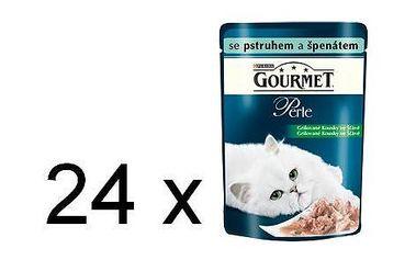 Purina Gourmet Perle s pstruhem a špenátem 24 x 85 g