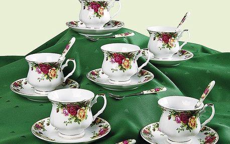 Elegantní 12dílná čajová souprava s dekorem růží. Obsahuje 6 šálků s podšálky (objem 200 ml)