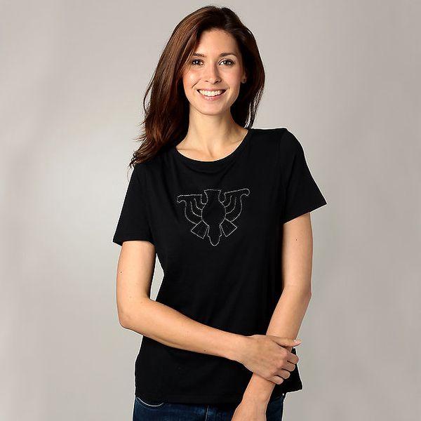 Dámské černé triko s korálkovou aplikací Caramelo