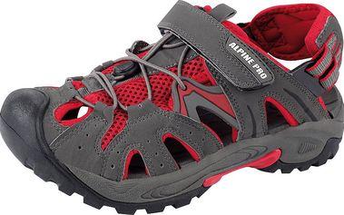 Moderní unisexové sandály se stahováním Alpine Pro Caracas Šedá/červená 39 - II. jakost