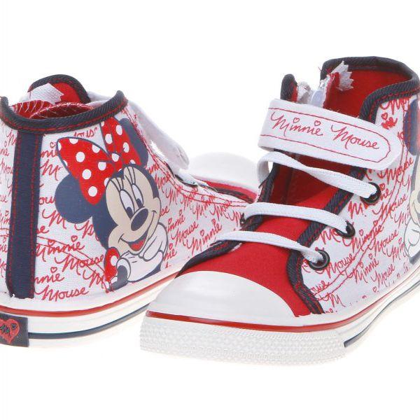 Originální, jedinečné dívčí tenisky Minnie Mouse 302303363, bílá/červená