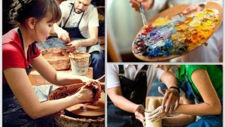 Kreativní výtvarné či keramické kurzy pro dospělé se slevou.
