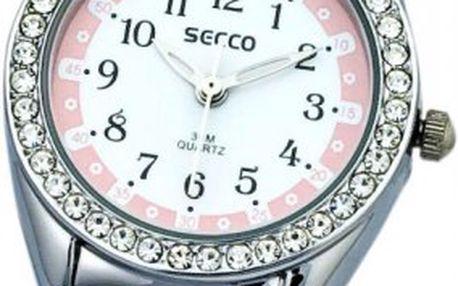 Dívčí hodinky Secco SK121 skoženým řemínkem zdobeným kytičkami a kulatým pouzdrem