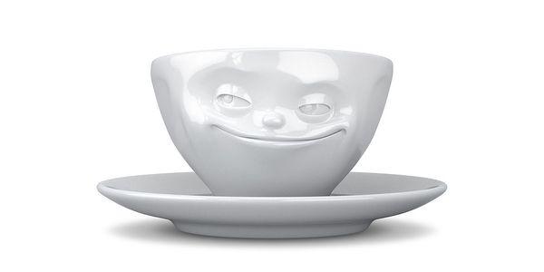 Usměvavý hrnek na kávu, bílý