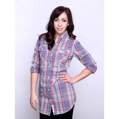Kvalitní dámská košile Superdry Washbasket_97R, šedá/fialová